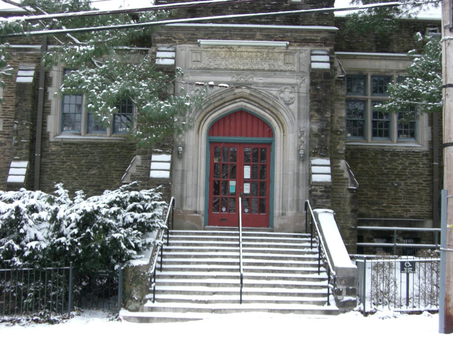 Library outside warden dr main entrance with snow