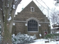 Library outside conrad st garden with snow1